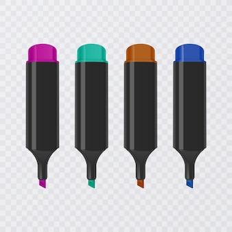 Verzameling van heldere en gekleurde markeerstiften met markeringen, realistische markeringen