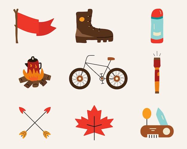 Verzameling van heldere kleurrijke vectorillustraties van verschillende afbeeldingen in vlakke stijl - fiets, vlag
