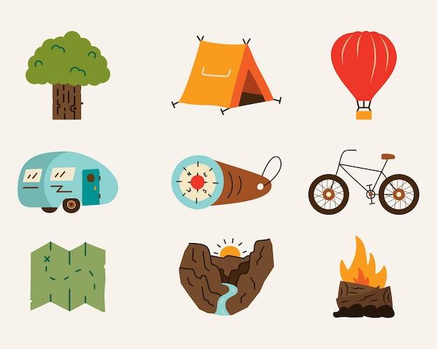 Verzameling van heldere kleurrijke vectorillustraties van verschillende afbeeldingen in vlakke stijl voor op reis