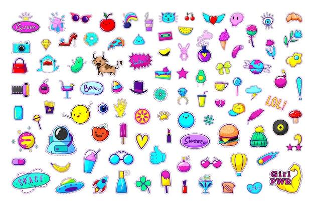 Verzameling van heldere stickers
