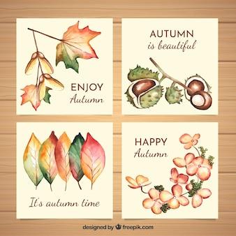 Verzameling van herfst aquarel kaarten