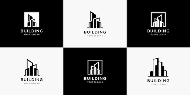 Verzameling van het bouwen van architectuurlogo