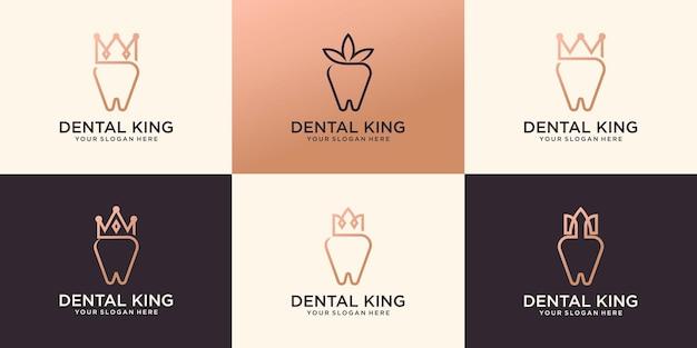 Verzameling van het logo van de tandheelkundige kroonkliniek premium vector