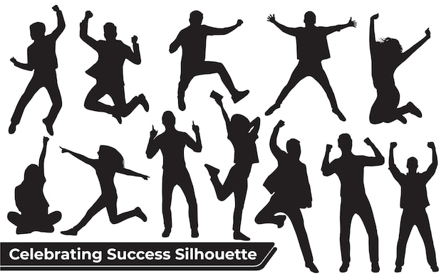 Verzameling van het vieren van succes silhouet in verschillende posities
