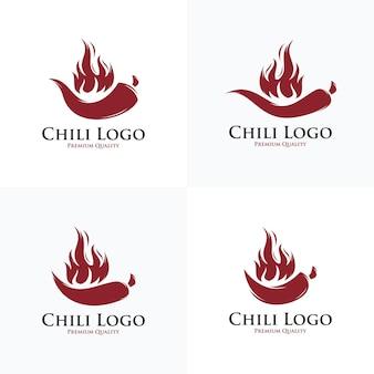 Verzameling van hete pittige chili logo ontwerp vector