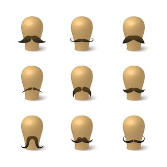 Verzameling van hipster snorren op hoeden-blokken