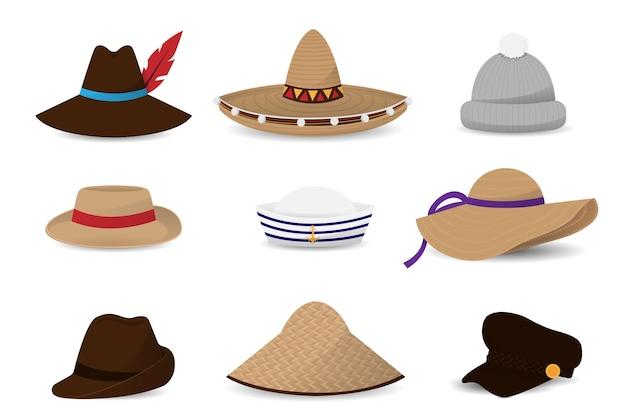 Verzameling van hoeden petten plat