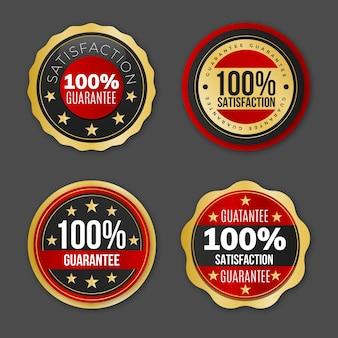 Verzameling van honderd procent garantie-etiketten Gratis Vector