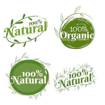 Verzameling van honderd procent natuurlijke badges