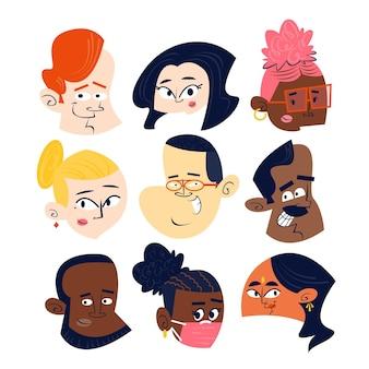 Verzameling van hoofden van stripfiguren