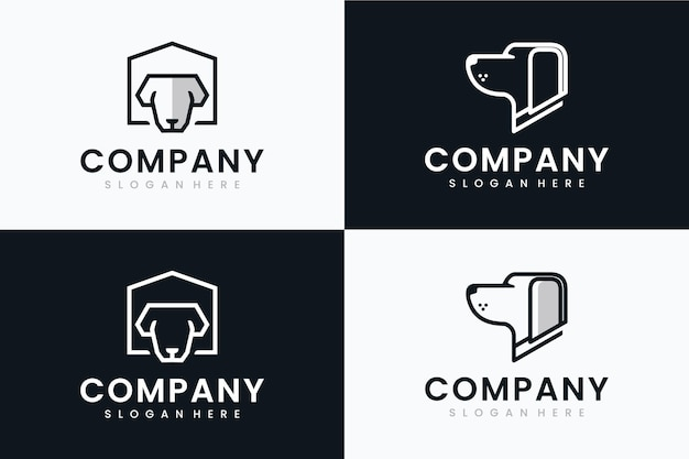 Verzameling van hoofdhonden, inspiratie voor logo-ontwerp