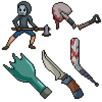 Verzameling van horror pixelart
