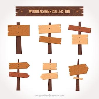 Verzameling van houten bord in plat ontwerp