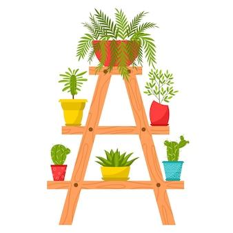 Verzameling van huisplanten in potten. bladverliezende planten, vetplanten in bloempotten.