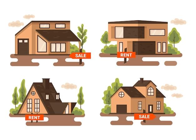 Verzameling van huizen te koop