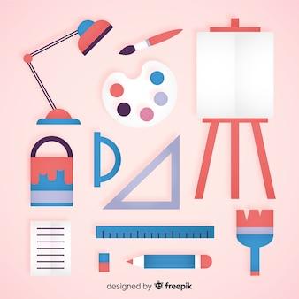 Verzameling van hulpmiddelen voor plat grafisch ontwerp