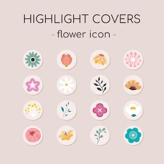 Verzameling van icon set van instagram hoogtepunt dekking met bloem en bladeren.