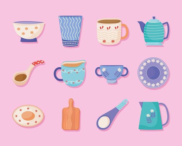 Verzameling van iconen keramische gebruiksvoorwerpen