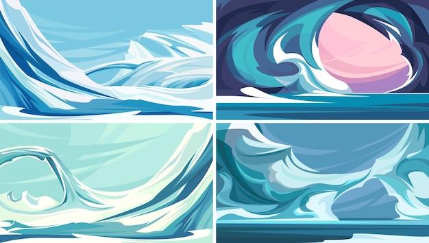 Verzameling van ijzige landschappen. noordpoollandschappen.