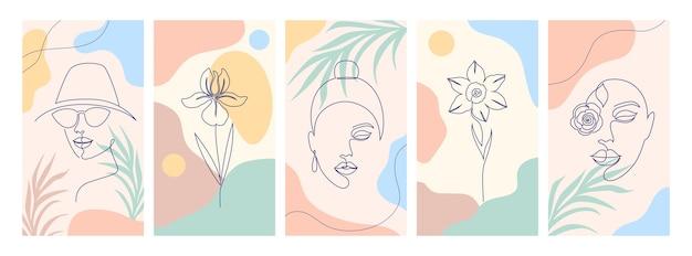 Verzameling van illustraties met één lijntekeningstijl en abstracte vormen.