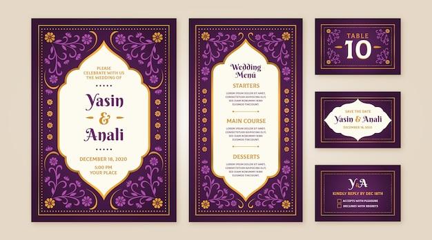 Verzameling van indiase bruiloft briefpapier