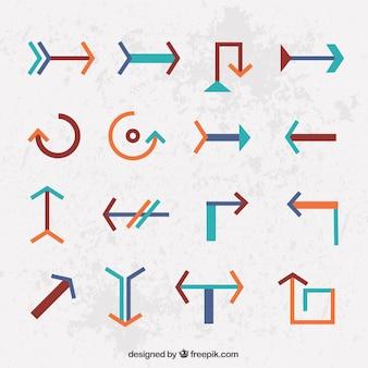 Verzameling van infographic pijlen in vlakke bouwvorm