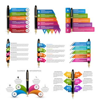 Verzameling van infographics met inkt pennen.