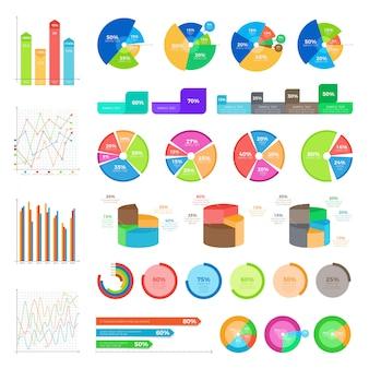 Verzameling van infographics op wit. vectorronde diagrammen met percentages en kolomgrafieken in vlakke stijl