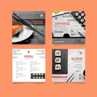 Verzameling van instagram-berichten van japans restaurant