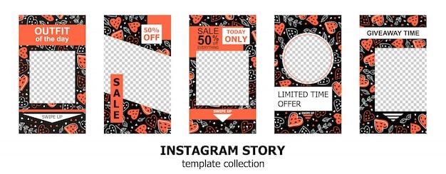 Verzameling van instagram verhalen sjablonen