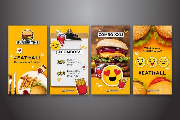 Verzameling van instagram-verhalen voor fastfood