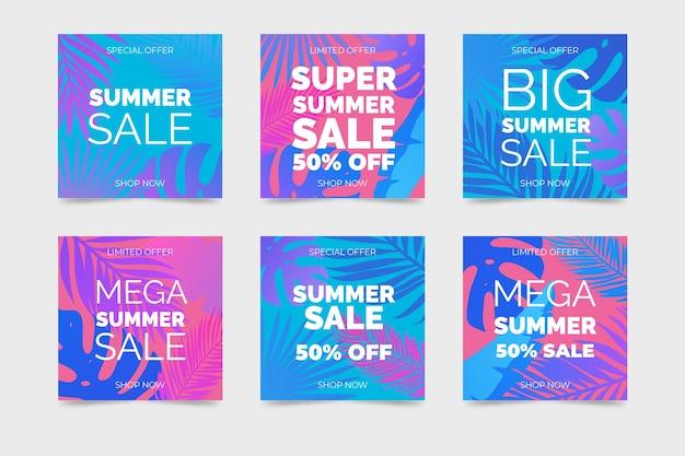 Verzameling van instagram zomerverkoopposten
