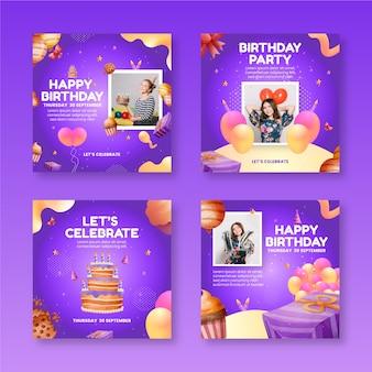 Verzameling van instagramposts voor verjaardagsverjaardag