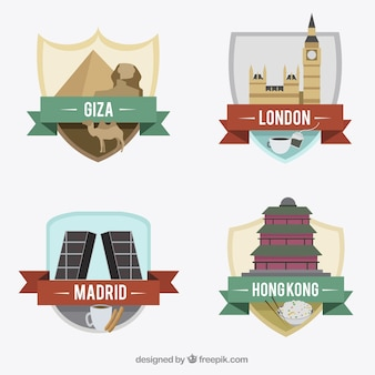 Verzameling van internationale stad badges