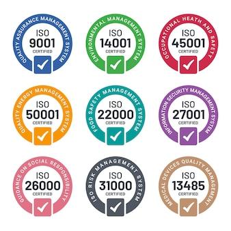 Verzameling van iso-certificeringsstempels en labels