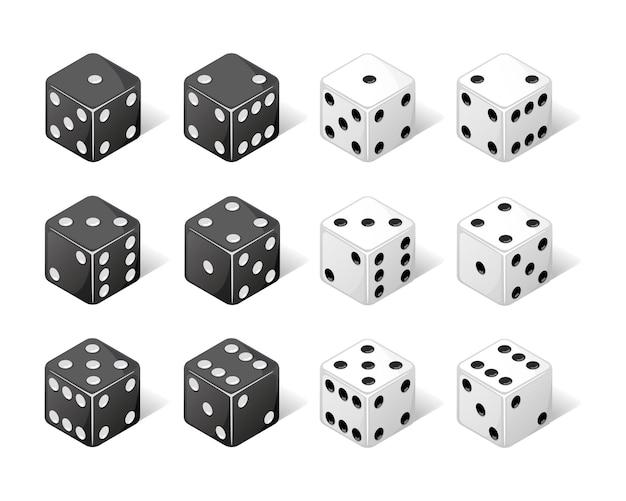 Verzameling van isometrische dobbelstenen van één tot zes