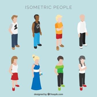 Verzameling van isometrische mensen