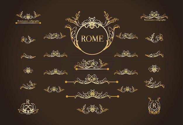Verzameling van italiaanse kalligrafische ontwerpelementen voor pagina decoratie