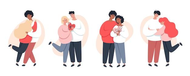 Verzameling van jonge liefdevolle paren hand in hand samen wandelen op een witte achtergrond