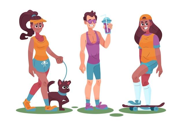 Verzameling van jonge mensen die zomeractiviteiten in de buitenlucht doen