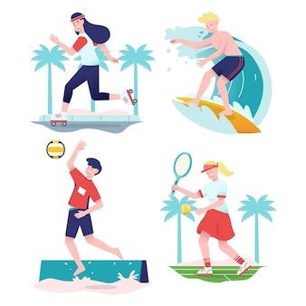 Verzameling van jonge mensen die zomersporten doen