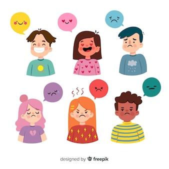 Verzameling van jonge mensen emoties