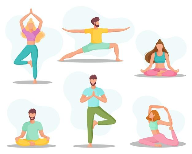 Verzameling van jonge mensen in yogapositie. fysieke en spirituele oefening.