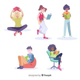 Verzameling van jonge mensen lezen