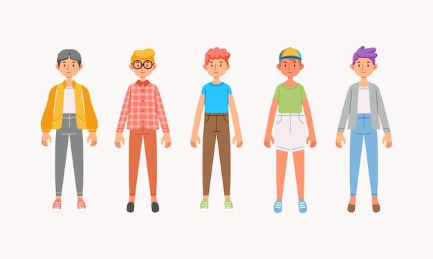 Verzameling van jongenspersonages met verschillende outfits en kapsels die worden gebruikt voor avatarprofiel