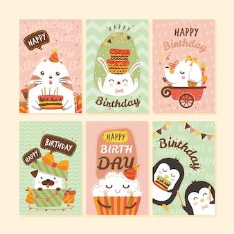 Verzameling van kaarten met dieren op verjaardagsfeestje
