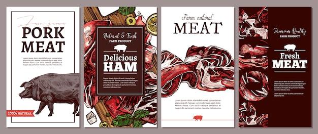 Verzameling van kaarten, posters, etiketten of tags voor natuurlijke producten van de vleesboerderij.
