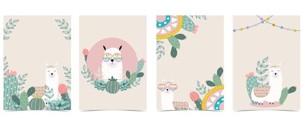 Verzameling van kaartenset met lama cactus