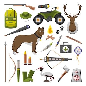 Verzameling van kampeeruitrusting. accessoires en basiskamp. wandelen outdoor avontuur elementen. toerisme, gegraveerde hand getrokken in oude schets, vintage stijl. rugzak en lantaarn, tent en herten en geweer.