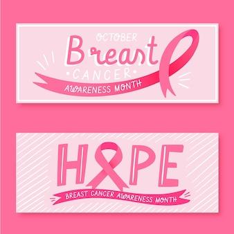 Verzameling van kankervoorlichtingsmaand banners
